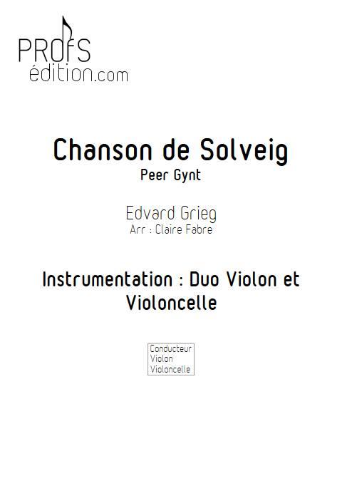 Chanson de solveig - Duo violon Violoncelle - GRIEG E. - page de garde