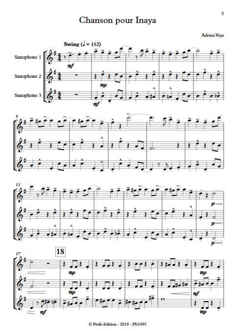Chanson pour Inaya - Trio de Saxophones - VEYS A. - Partition