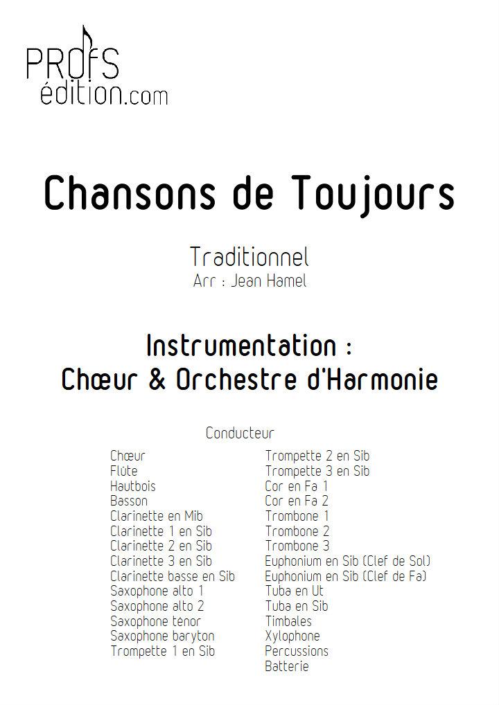Chansons de Toujours - Orchestre d'Harmonie et Chœur - TRADITIONNEL - page de garde