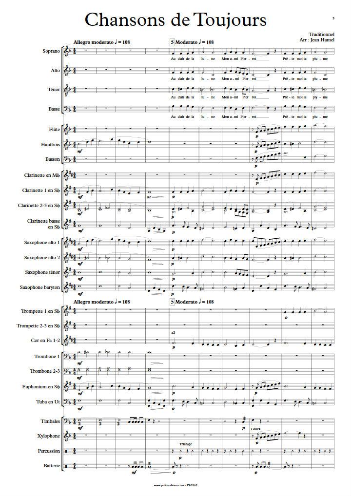 Chansons de Toujours - Orchestre d'Harmonie et Chœur - TRADITIONNEL - Partition