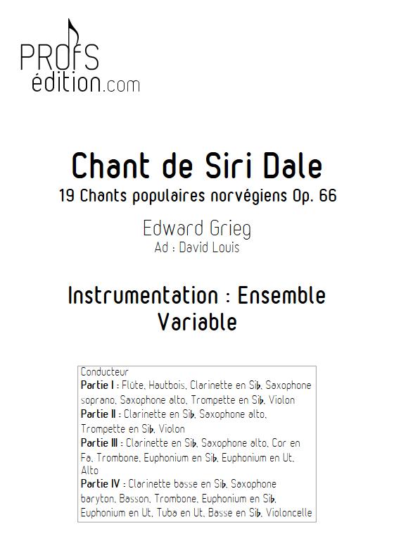 Chant de Siri Dale - Ensemble à Géométrie Variable - GRIEG E. - page de garde