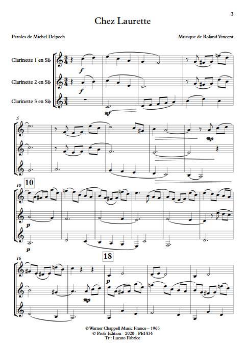Chez Laurette - Trio de Clarinettes - ROLAND V. - app.scorescoreTitle