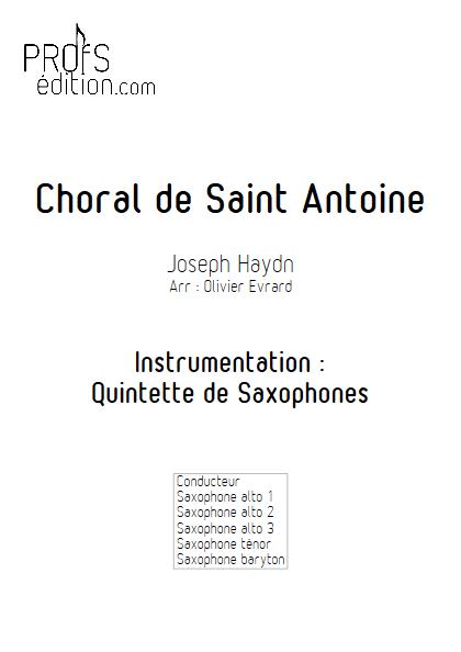 Choral de Saint Antoine - Quintette de Saxophones - HAYDN J. - page de garde