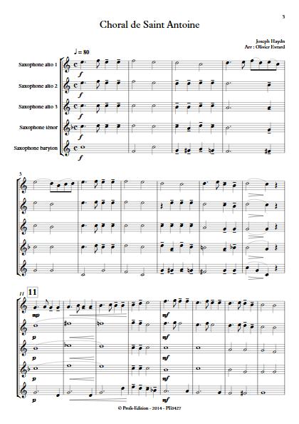 Choral de Saint Antoine - Quintette de Saxophones - HAYDN J. - Partition