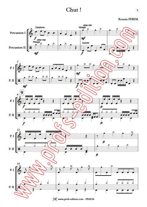 Chut ! - Duo Percussions - PERDA R. - Partition
