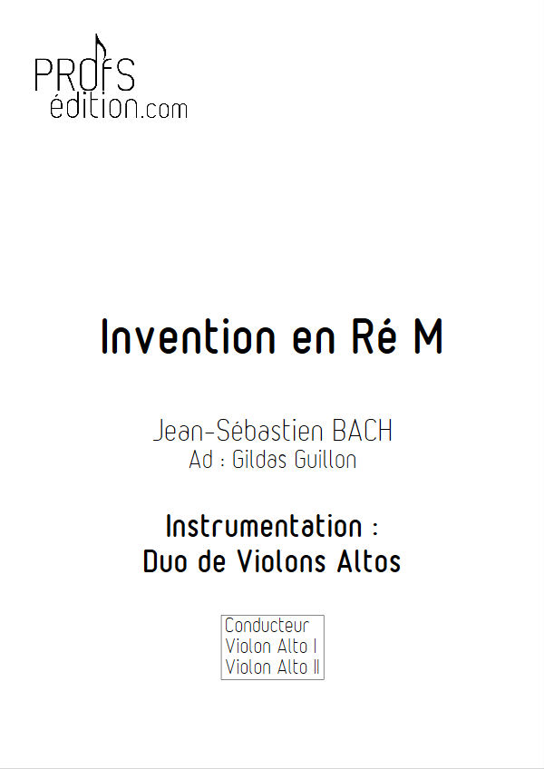 5 Inventions - Duo Altos - BACH J. S. - page de garde