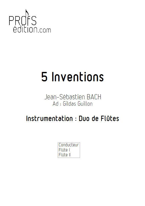 5 Inventions - Duo Flûtes - BACH J. S. - page de garde