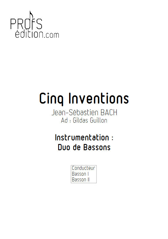 5 Inventions - Duo Bassons - BACH J. S. - page de garde