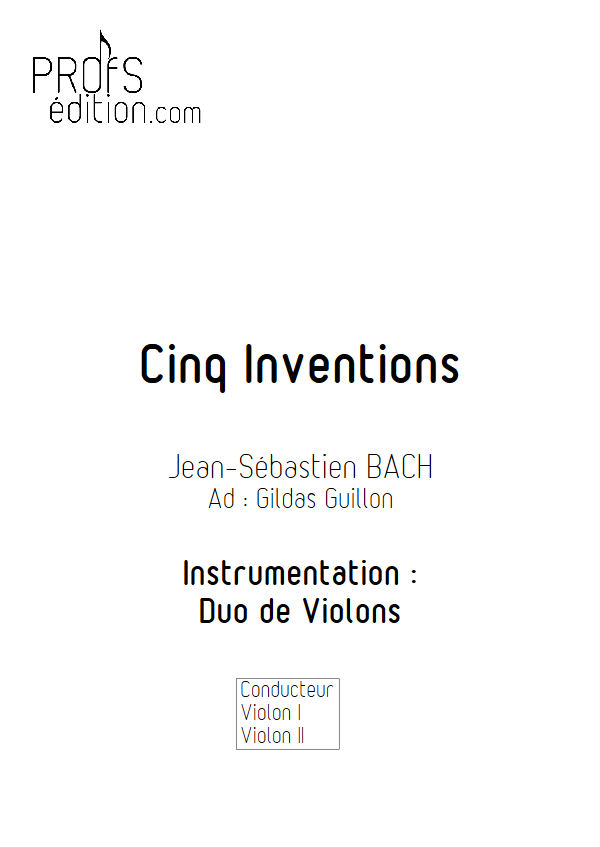 5 Inventions - Duo Violons - BACH J. S. - page de garde