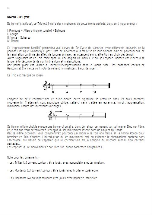 Circonférences - Trio d'anches - ZEHAR F. - Fiche Pédagogique