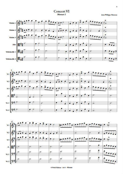 Concert VI - Menuet I & II - Sextuor à Cordes - RAMEAU Jean-Philippe - app.scorescoreTitle
