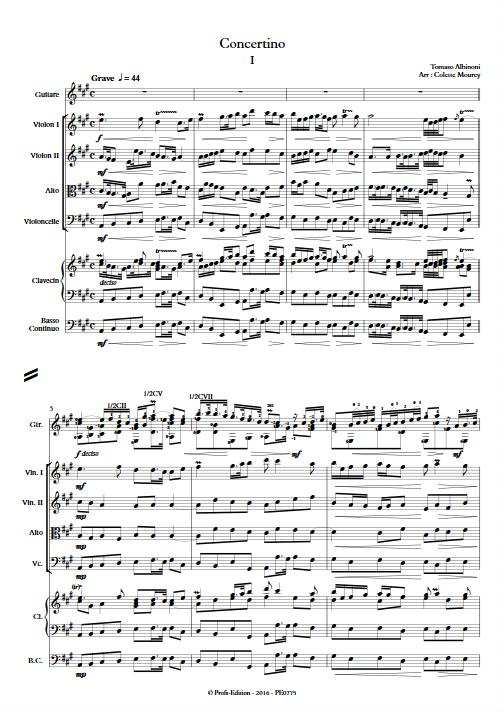Concertino - Guitare & Orchestre de Chambre à Cordes - ALBINONI T. - Partition