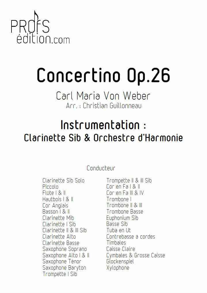 Concertino pour Clarinette - Clar & Orchestre Harmonie - WEBER C. M. - page de garde