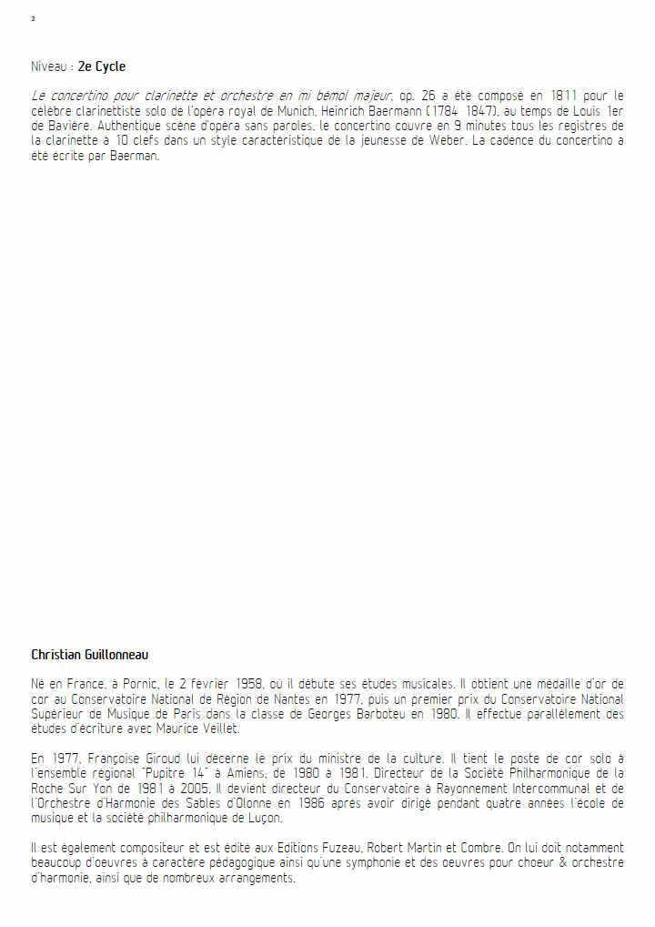 Concertino pour Clarinette - Clar & Orchestre Harmonie - WEBER C. M. - Fiche Pédagogique