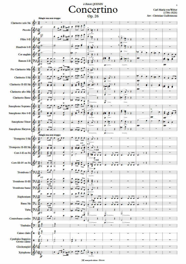 Concertino pour Clarinette - Clar & Orchestre Harmonie - WEBER C. M. - Partition
