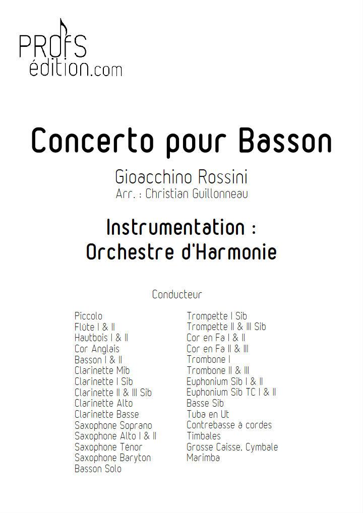 Concerto pour Basson - Orchestre Harmonie - ROSSINI G. - page de garde