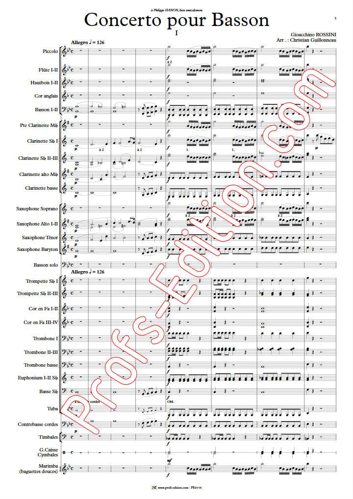 Concerto pour Basson - Orchestre Harmonie - ROSSINI G. - Partition