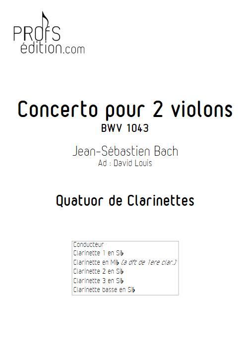 Concerto pour 2 violons BWV 1043 (Largo) - Quatuor de Clarinettes - BACH J. S. - page de garde