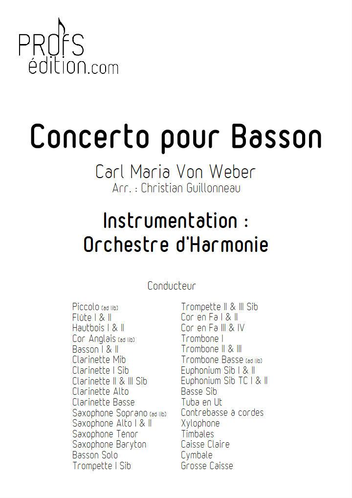 Concerto pour Basson - Orchestre Harmonie - WEBER C. M. V. - page de garde