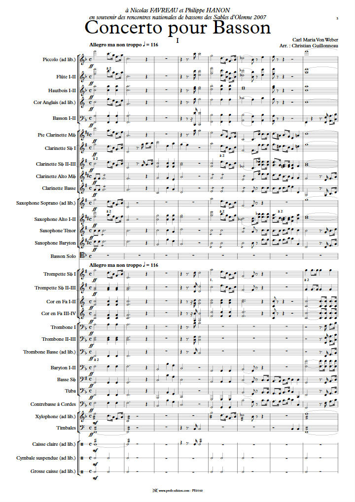Concerto pour Basson - Orchestre Harmonie - WEBER C. M. V. - app.scorescoreTitle