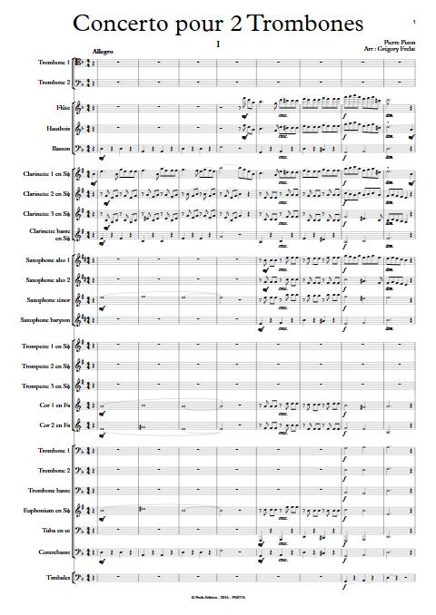 Concerto pour 2 Trombones - Trombones et Orchestre d'Harmonie - PIZON P. - Partition
