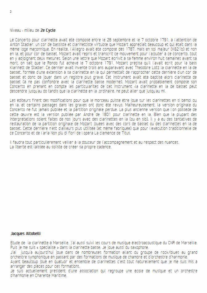 Concerto pour Clarinette KV622 (Adagio) - Ensemble Géométrie Variable - MOZART W. A. - Fiche Pédagogique