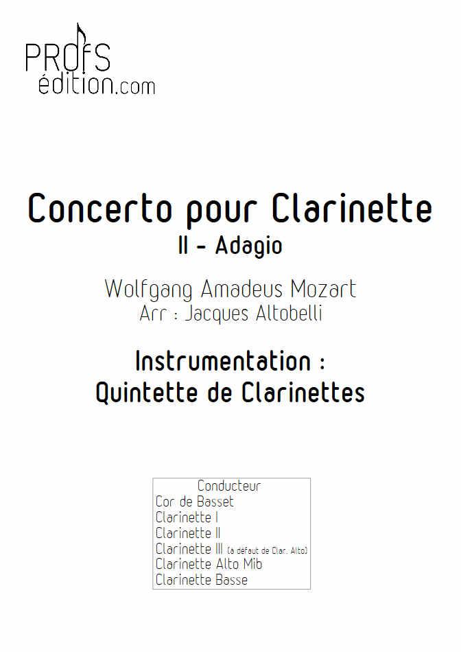 Concerto pour Clarinette KV622 (Adagio) - Quintette Clarinettes (Cor de Basset) - MOZART W. A. - page de garde