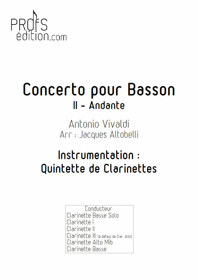 Concerto pour Basson RV484 (Andante) - Quintette Clarinettes - VIVALDI A. - page de garde