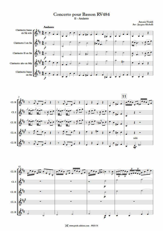 Concerto pour Basson RV484 (Andante) - Quintette Clarinettes - VIVALDI A. - Fiche Pédagogique