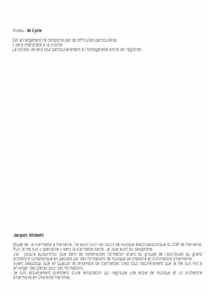 Concerto pour Basson RV484 (Andante) - Quintette Clarinettes - VIVALDI A. - Partition