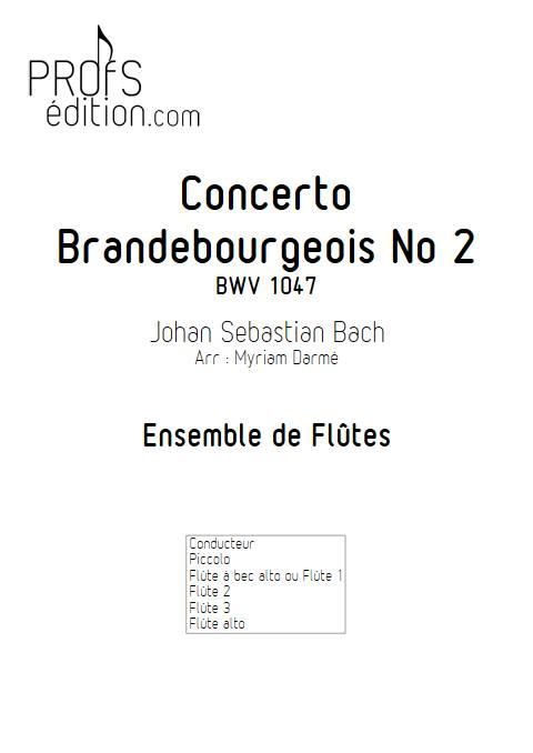 Concerto brandebourgeois n°2 - Ensemble de flûtes - BACH J. S. - page de garde