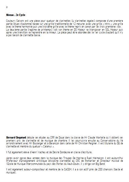 Couleurs Saisons - Quatuor de Clarinettes - DEQUEANT B. - Fiche Pédagogique