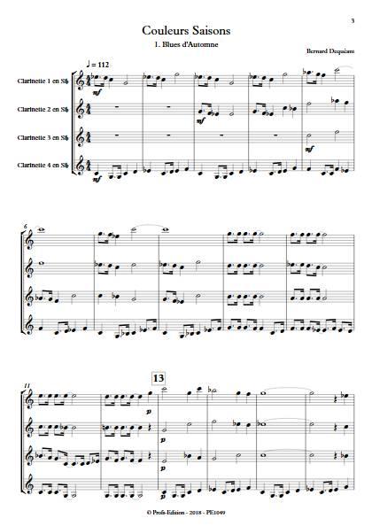Couleurs Saisons - Quatuor de Clarinettes - DEQUEANT B. - Partition