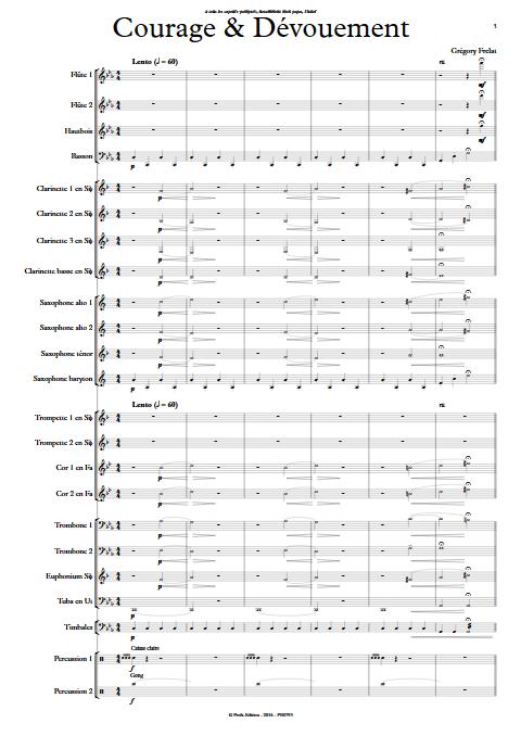 Courage et dévouement - Orchestre d'Harmonie - FRELAT G. - Partition