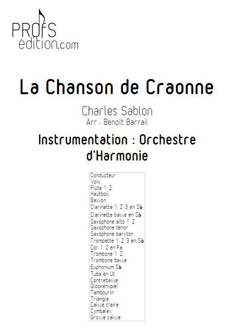 La Chanson de Craonne - Orchestre d'Harmonie - SABLON C. - page de garde
