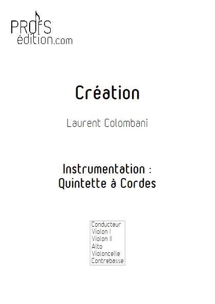 Création - Quintette à Cordes - COLOMBANI L. - page de garde