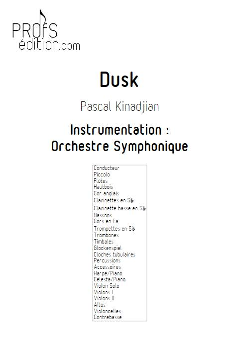 Dusk - Orchestre Symphonique - KINADJIAN P. - page de garde