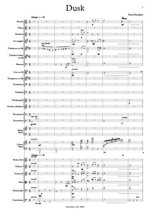 Dusk - Orchestre Symphonique - KINADJIAN P. - Partition