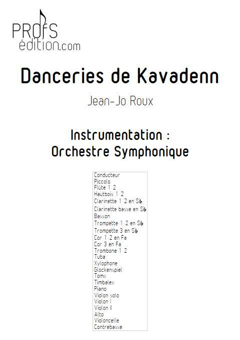 Danceries de Kavadenn - Orchestre symphonique - ROUX J.J. - page de garde