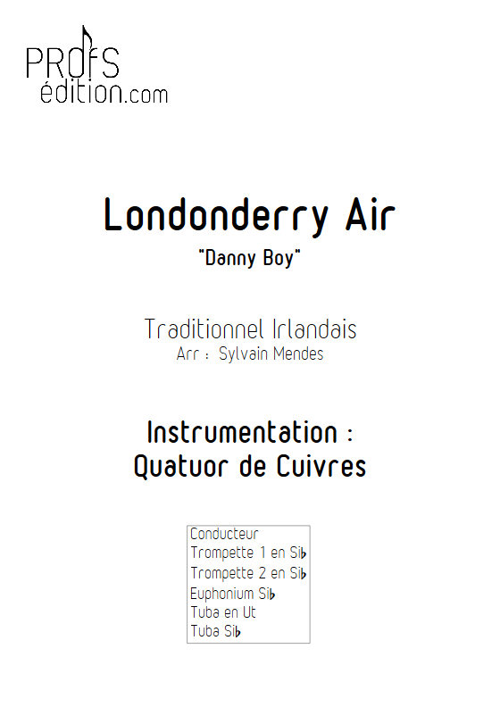 Danny Boy (Londonderry Air) - Quatuor Cuivres - TRADITIONNEL - page de garde