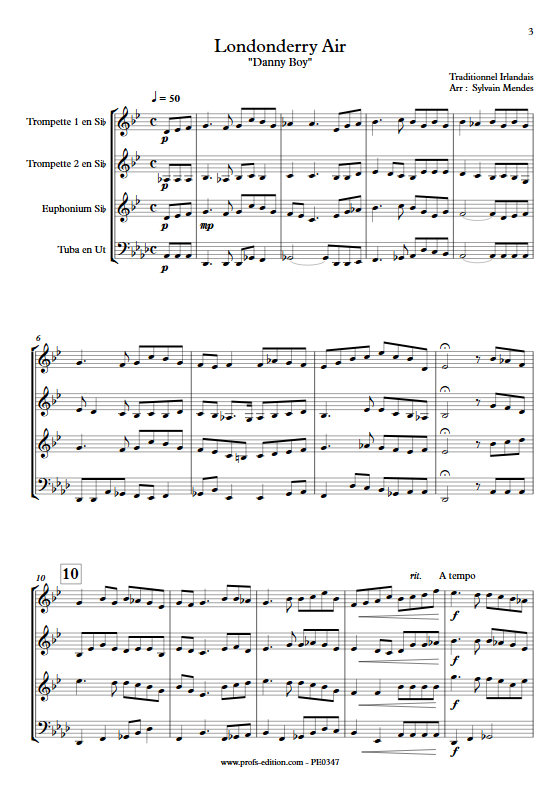 Danny Boy (Londonderry Air) - Quatuor Cuivres - TRADITIONNEL - app.scorescoreTitle