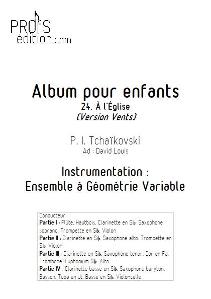 Album pour Enfants (Dans l'Eglise) - Ensemble Variable - TCHAIKOVSKY P. I. - page de garde