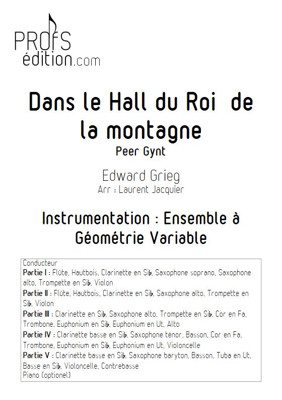 Dans le Hall du Roi de la montagne - Ensemble à Géométrie Variable - GRIEG E. - page de garde