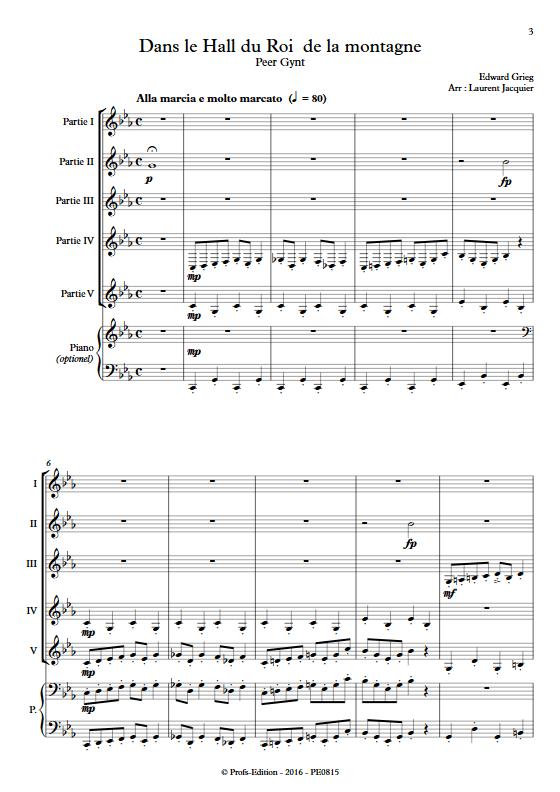 Dans le Hall du Roi de la montagne - Ensemble à Géométrie Variable - GRIEG E. - Partition