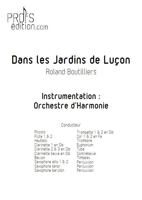 Dans les Jardins de Luçon - Orchestre d'Harmonie - BOUTILLIERS R. - page de garde
