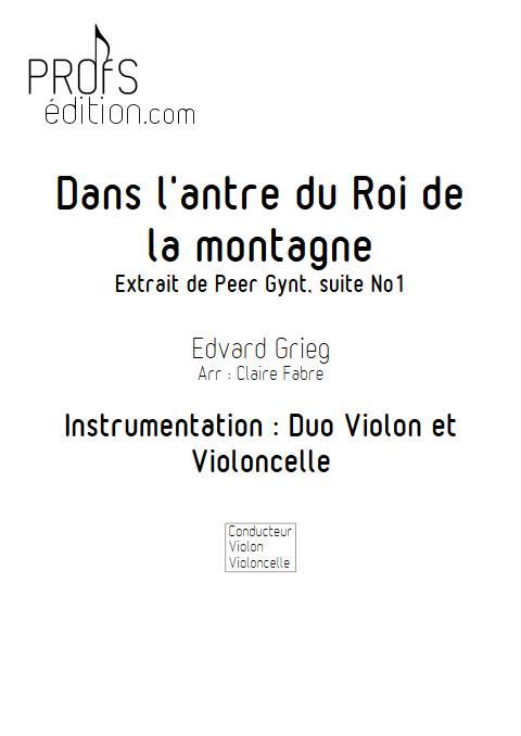 Dans l'Antre du Roi de la Montagne - Duo violon Violoncelle - GRIEG E. - page de garde
