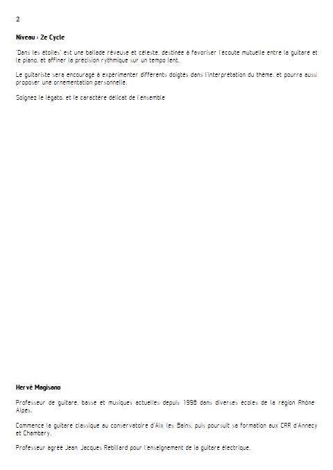 Dans les étoiles - Piano et Guitare - MAGISANO H. - Fiche Pédagogique