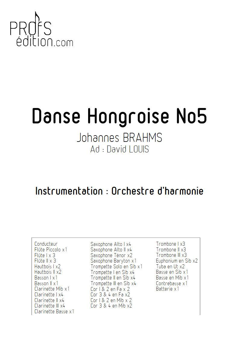 Danse hongroise N°5 PDF - Orchestre harmonie - BRAHMS J. - page de garde
