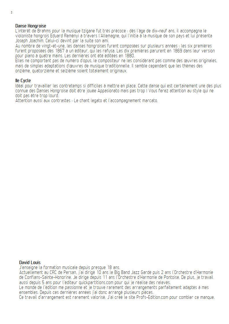 Danse hongroise N°5 PDF - Orchestre harmonie - BRAHMS J. - Fiche Pédagogique