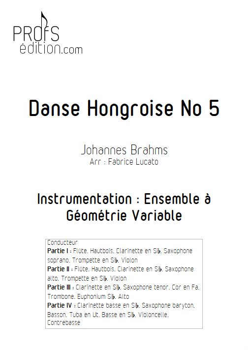 Danse Hongroise n°5 - Ensemble Variable - TRADITIONNEL - page de garde